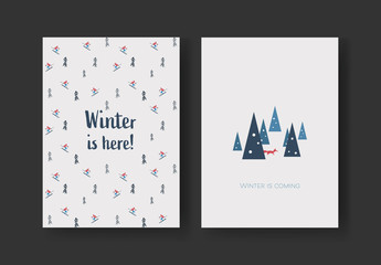 Winter Postcard Card Layout with Skiers and Fox