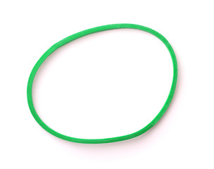 Top view of green rubber band