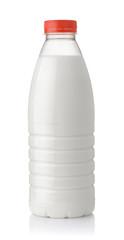 Front view of plastic one liter milk bottle