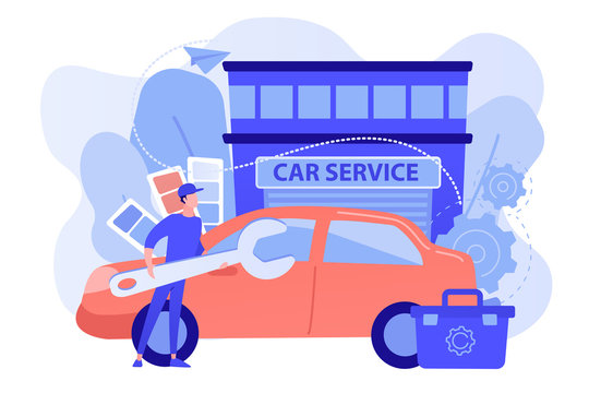 Auto tuner with wrench and toolbox doing vehicle modification at car service. Car tuning, car body shop, vehicle music upgrade concept. Pinkish coral bluevector isolated illustration