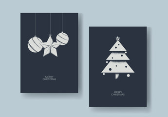Christmas Card Layout with Textured Ornaments