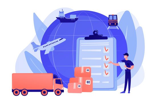 Orders worldwide shipment service agreement. Customs clearance, calculation of customs duties, professional customs clearance services concept. Pinkish coral bluevector isolated illustration