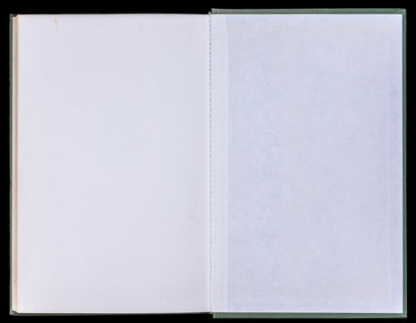 Book unfolded on the Endpaper, showing blank paper inside, isolated on black background.