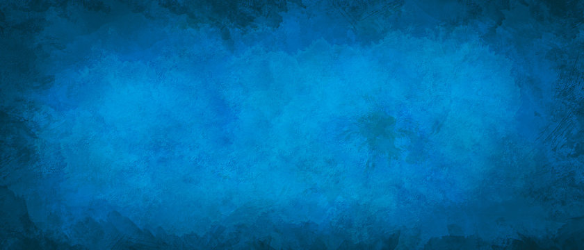 Blue grunge marbled texture banner with space for text or image