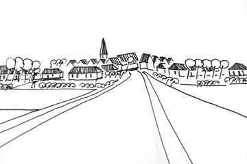 Dorf mit Landstraße
