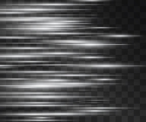 Fototapeta Laser silver white glow vector flashy streams. Motion effect light blinking on transparent background. Light shiny energy shots for modern hi-tech design. Power pulsing flow of high speed particles. obraz
