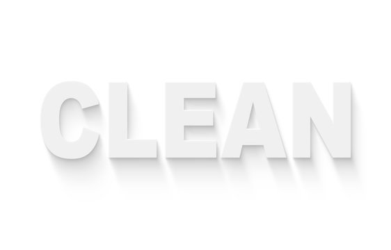 word clean, white letters on white background