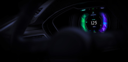 Close up of car cockpit with hi-tech dashboard UI (3D Illustration)