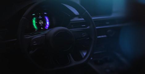 Futuristic car cockpit with hi-tech dashboard UI (3D Illustration)