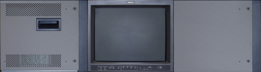 CRT monitor TV realistic texture exclusive for 3D modeling. Front, Top and side views for mapping