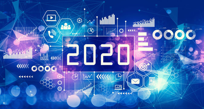 2020 New Year concept with technology blurred abstract light background