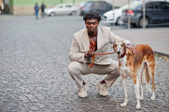 Stylish afro man in beige old school suit with Russian Borzoi dog. Fashionable young African male in casual jacket on bare torso.