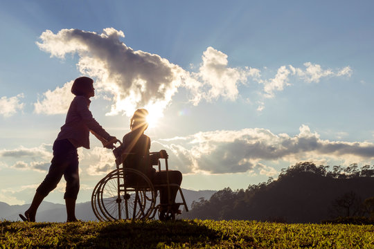 silhouette of disabled mother in wheelchair and daughter in spring nature at sunset.