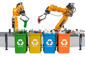 Robotic arms sorting garbage, automatic sorting of trash. 3D rendering