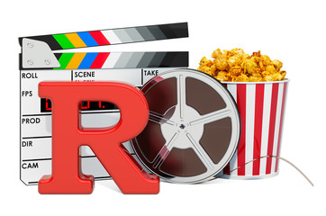 R – Restricted, film rating system concept. 3D rendering