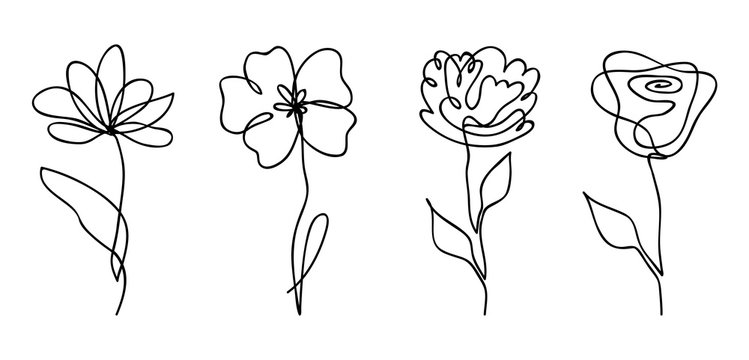 Vector set of one line drawing abstract flowers. Hand drawn modern minimalistic design for creative logo, icon or emblem