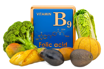 Foods Highest in Vitamin B9, Folic Acid. 3D rendering