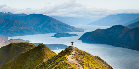 Roys peak mountain hike in Wanaka New Zealand. Popular tourism travel destination. Concept for...