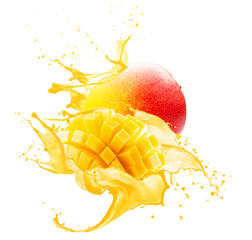 Fotorolgordijn Sap mango in juice splash isolated on a white background