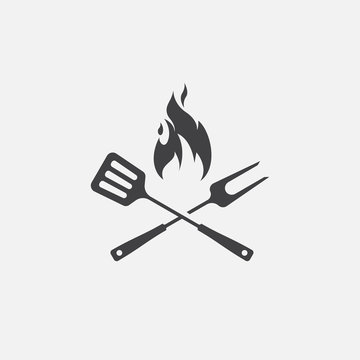 BBQ with flame icon, Grill sign meat and food icon, fork and spatula Barbeque icon symbol, Barbeque Icon Vector Illustration Sign