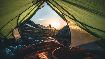 Fototapeten Camping morning tent view
