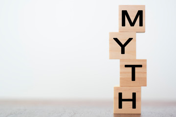 Myth word on wooden cubes