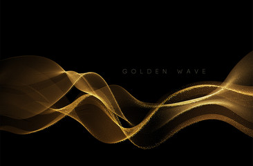 Abstract shiny color gold wave design element