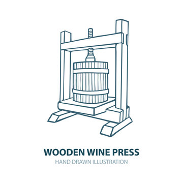 Wine press. Hand drawn wooden wine press vector illustration. Grape press sketch drawings set. Wine making theme concept design. Part of set.