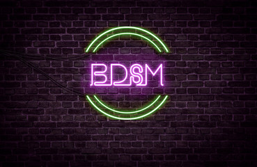 A green and purple neon light sign that reads: BDSM