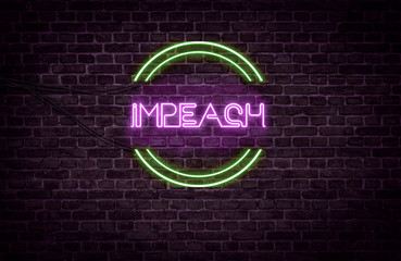 A green and purple neon light sign that reads: Impeach