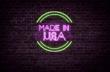 A green and purple neon light sign that reads: Made In USA
