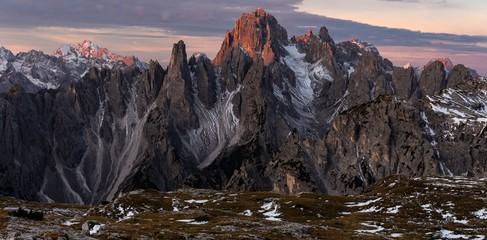 Spoed Foto op Canvas Chocoladebruin Panoramic shot of the mountain Cadini di Misurina in the Italian Alps