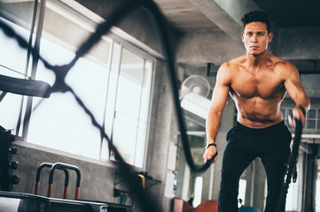Strong man exercising in the sport gym