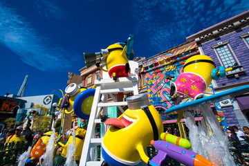 """OSAKA, JAPAN - AUGUST 12, 2018: Photo of """"FUN STORE at MINION PARK"""" shop, located in Universal Studios JAPAN, Osaka, Japan. Minions are famous characters from Despicable Me animation."""