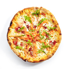 Pizza with Salmon, Cream Cheese and Fresh Rucola Leaves Isolated