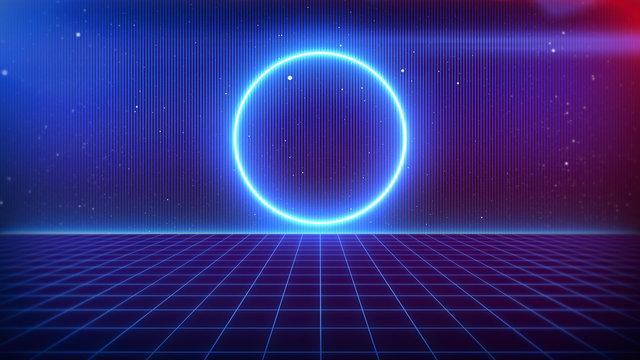 80s Retro Sci-Fi Background Futuristic Grid landscape. Digital cyber surface style of the 1980`s. 3D illustration