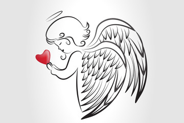Angel wings praying love heart holidays sketch logo vector image