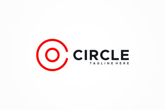 Logo Vector Abstract Letter C Circle. Flat Line Logo Design Template Element