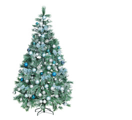 Full length Christmas tree decorated in blue and silver