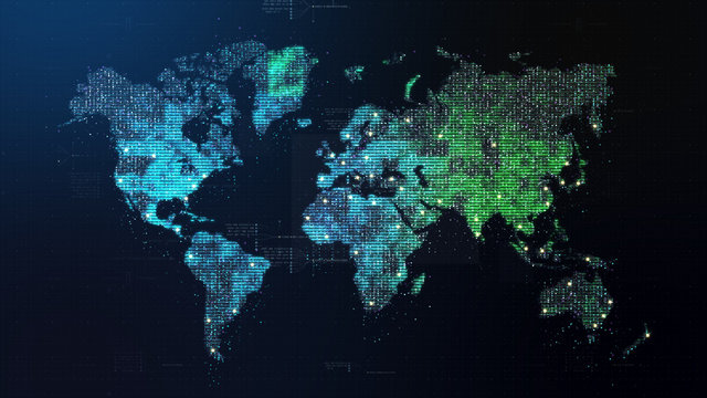 Futuristic global 5G worldwide communication via broadband internet connections between cities around the world with matrix particles continent map for head up display background