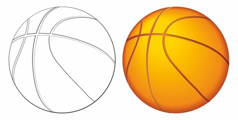 Basketball ball. as a sports and fitness symbol of a team leisure activity playing with a leather ball dribbling and passing in competition tournaments. Vector illustration.