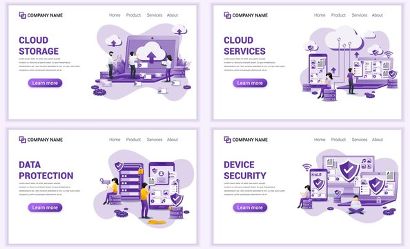 Set of web page design templates for cloud storage, data Security. Can use for web banner, poster, infographics, landing page, web template. Flat vector illustration