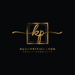 Obraz Initial K P handwriting logo design, with brush box lines gold color. handwritten logo for fashion, team, wedding, luxury logo. - fototapety do salonu