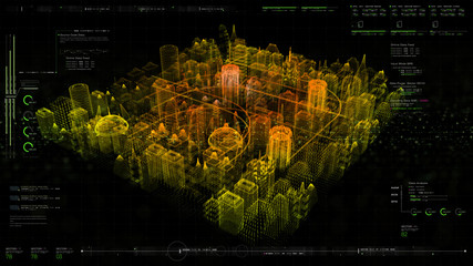 Wall Mural - Futuristic holographic city digitally generated image virtual reality matrix particles in cyber space background environment