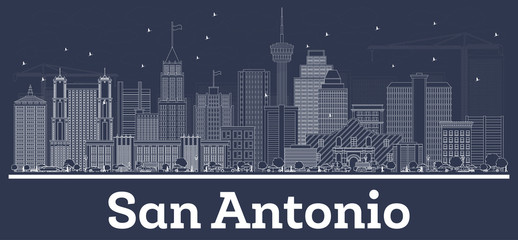 Outline San Antonio Texas City Skyline with White Buildings.