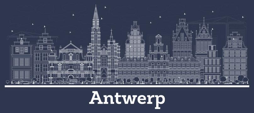 Outline Antwerp Belgium City Skyline with White Buildings.