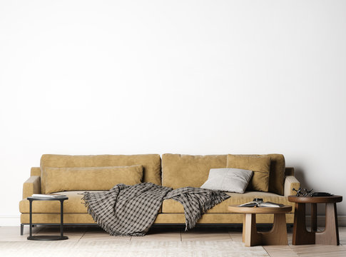Living Room with cozy big sofa, Mock Up In Modern Interior Background, simple and clean furniture