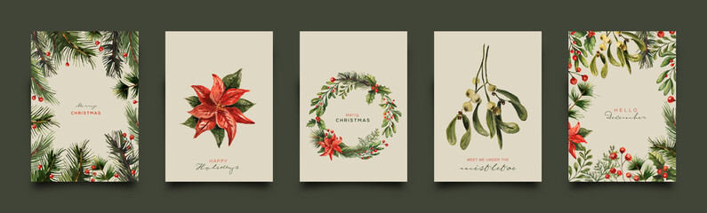 Holiday Greeting Card Collection. Vector Illustration. Fotomurales