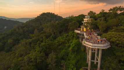 Khao Rang viewpoint tower landmark in Phuket town it is on Tung Ka hill in Phuket town. .on Khao Rang viewpoint can see around Phuket island and watching sunrise and sunset