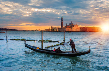 Keuken foto achterwand Venetie Panoramic aerial view at San Giorgio Maggiore island with gondola, Venice, Italy